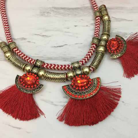 Red Crystal Tassel Collar Statement Necklace