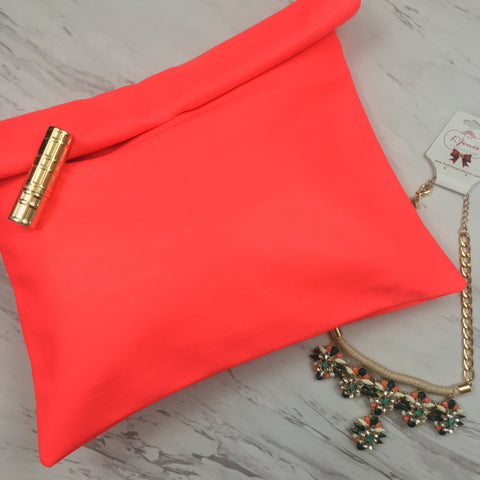 Coral Leatherette Roll Up Clutch with Teal & Coral Spring Explosion Necklace