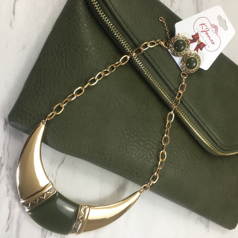 Olive Green Stella Leather Clutch with Olive Green & Gold Necklace & Earring Set