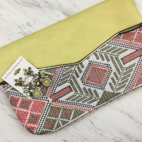 Lime Green, Red, & Cream Bohemian Chic Pattern Clutch with Lime Green Statement Dangle Earrings Set