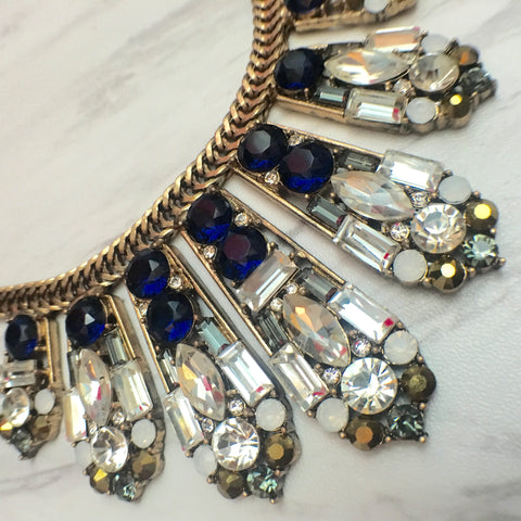 Royal Blue & Gold Crystal Necklace