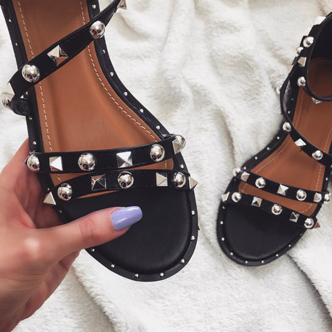 Lexa Black Studded Sandals