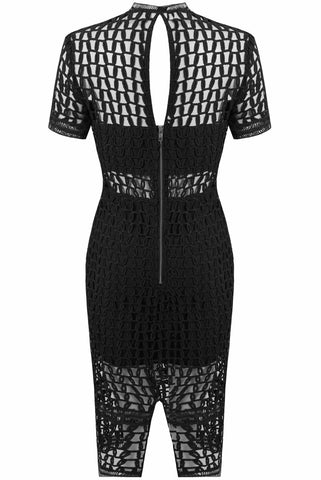 Venice Black Netted Midi Dress