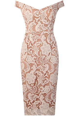 Tropez White Lace Embroidered Midi Dress