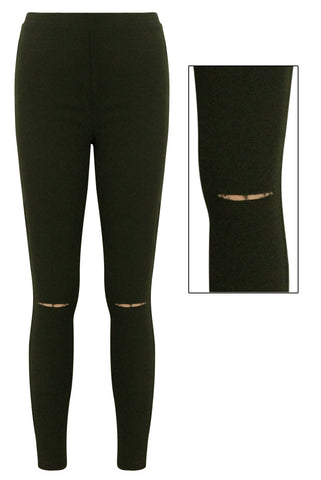 Raya Dark Khaki Ripped Leggings