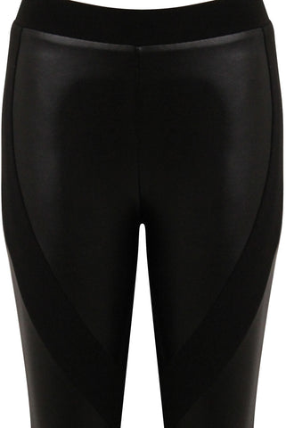 Ria Leatherette Panel Leggings