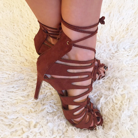 Cora Tan Cage Lace-Up Heels