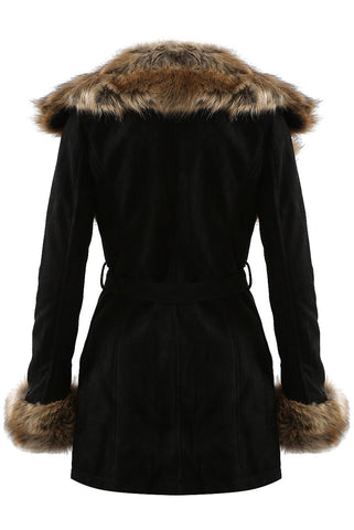 Willow Black Suede Golden Faux Fur Coat