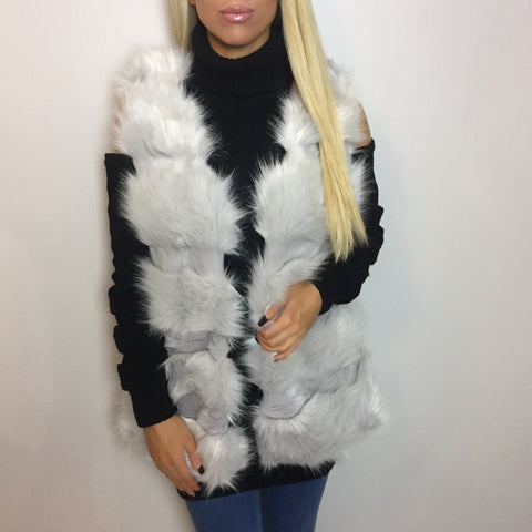 Mila Faux Fur Luxe Light Grey Gilet