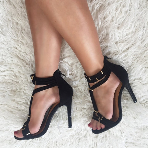Carmen Black Suede Gold Bar Heels
