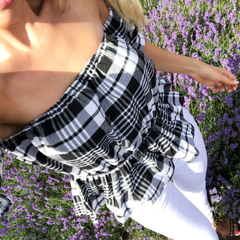 Betsy Bardot Black Check Top