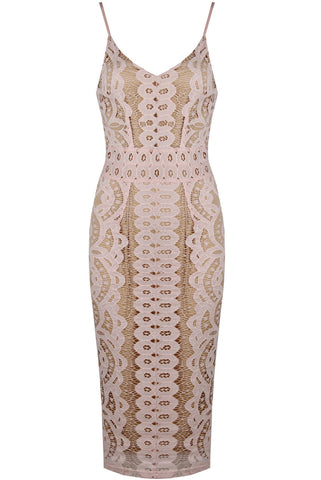 Paris Rose Lace Midi Dress
