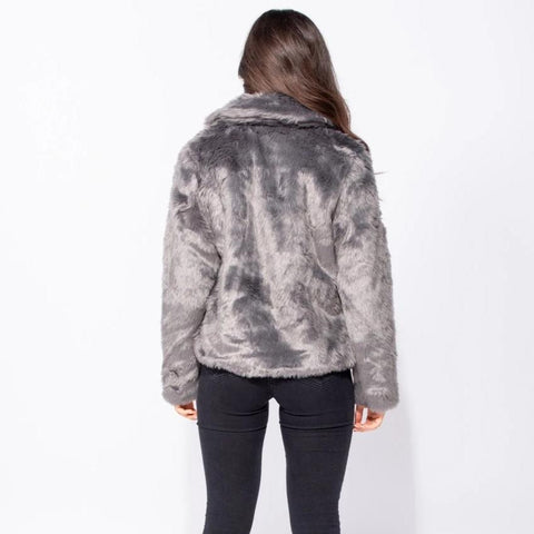 Queen of the Night Grey Faux Fur Coat