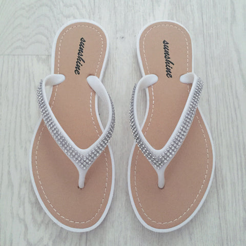 Lila Crystal Sandals - White