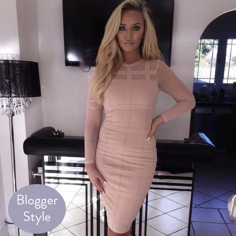Sabella Nude Bodycon Midi Dress