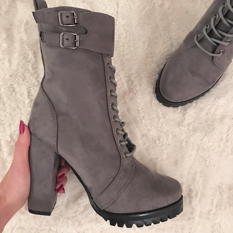 Go Getter Grey Platform Ankle Boots