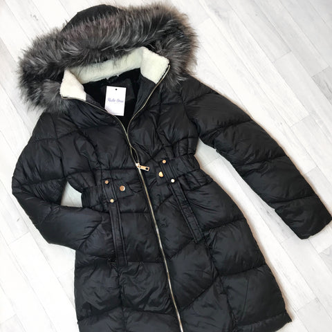 Lorenna Black Padded Faux Fur Hood Coat