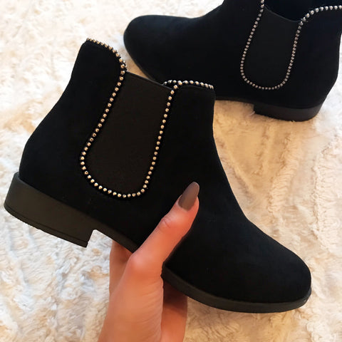 Grace Black Studded Ankle Boots