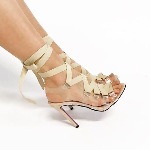 Penelope Barely There Nude Ribbon Stilettos