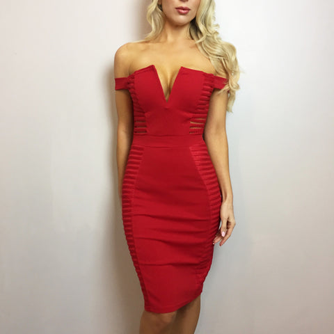 Loren Red Mesh Bodycon Dress