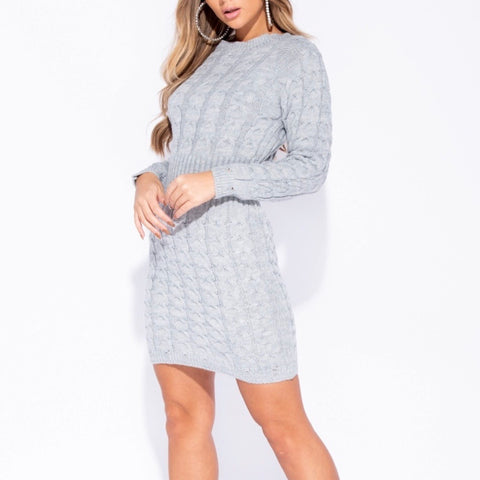 Carrie Grey Cable Knit Jumper Dress