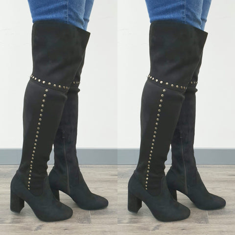Serena Black Silver Studded Over The Knee Boots