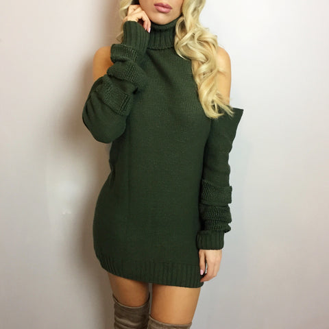 Ava Khaki Roll Neck Jumper