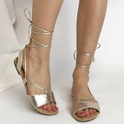 Selena Metallic Gold Sandals