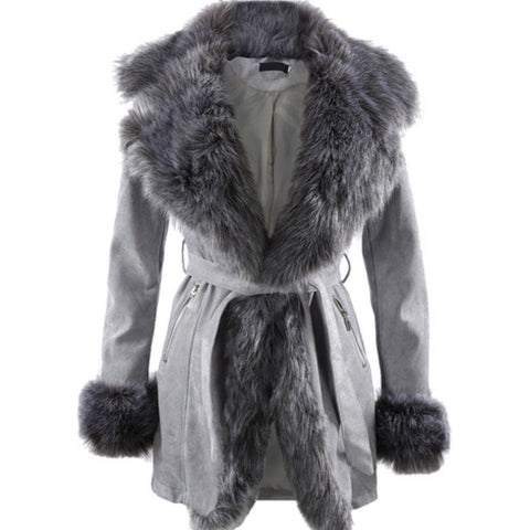 Willow Grey Suede Faux Fur Coat