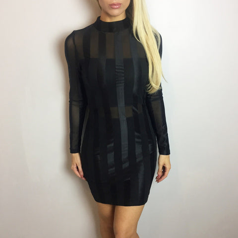 Lucia Black Mesh High Neck Dress