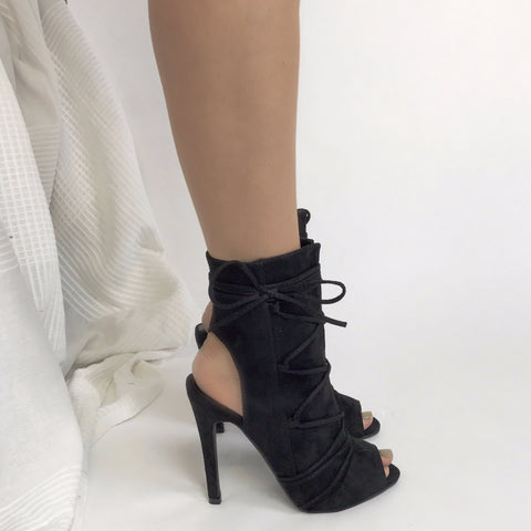 Sammie Black Lace-Up Ankle Boots