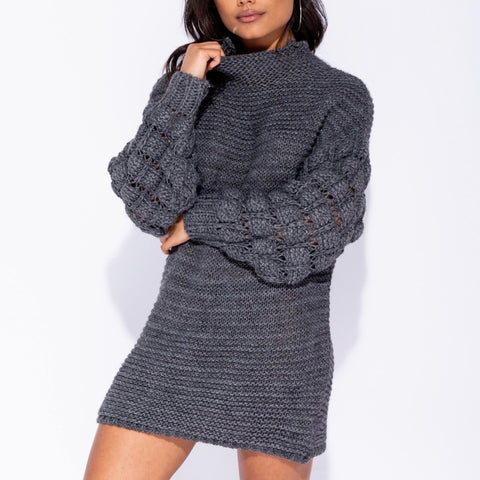 Angelique Grey Knitted Longline Jumper
