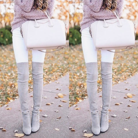 Tamra Grey Over The Knee Boots
