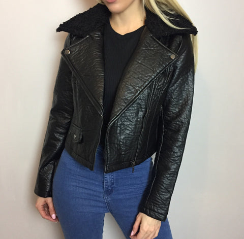 Sabrina Black Faux Fur Collar Leatherette Jacket