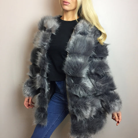 Saskia Grey Luxe Faux Fur Coat