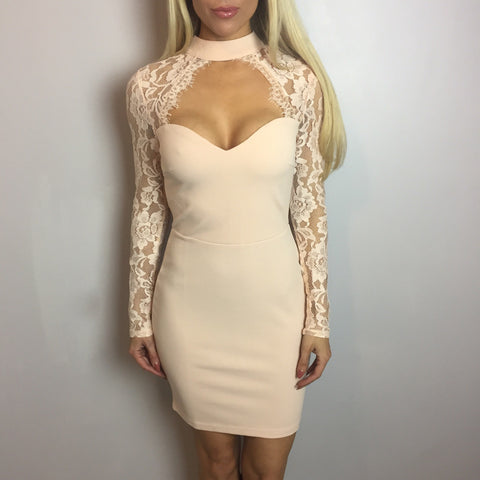 Hope Nude Lace Bodycon Dress