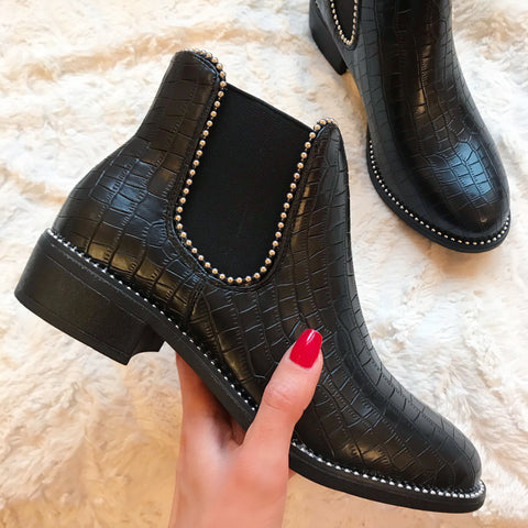 Lexia Black Croc Studded Ankle Boots