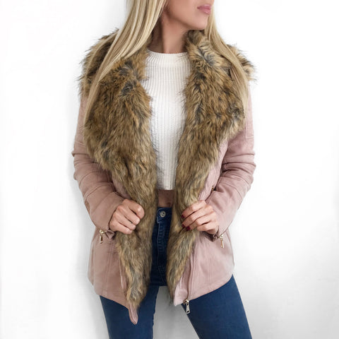 Georgia Pink Suede Faux Fur Coat