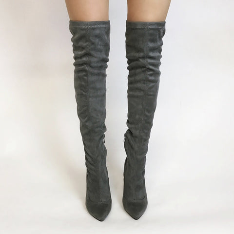 Coco Grey Over The Knee Boots
