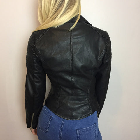 Dian Black Leatherette Jacket