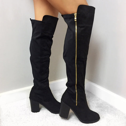 Farrah Black Over Knee Boots