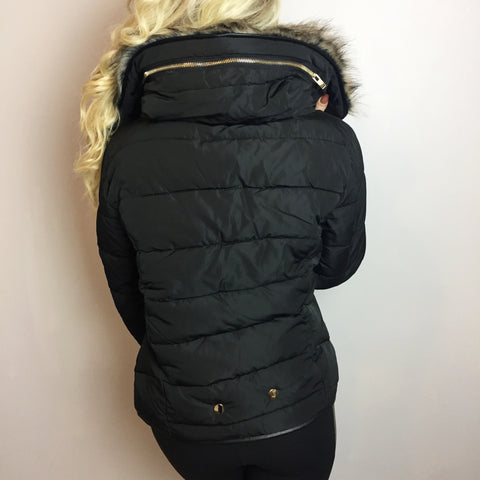 Jasmine Black Fur Collar Puffa Coat