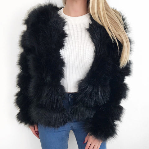Camille Black Faux Fur Coat