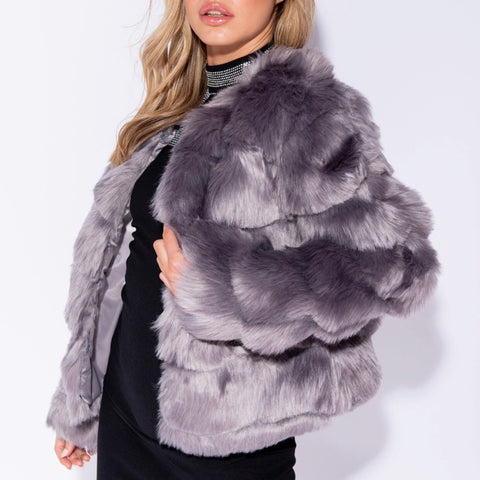 Cendi Grey Layered Faux Fur Coat