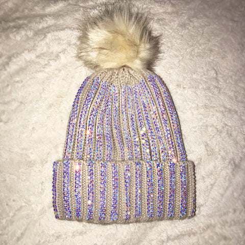 Libby Cream Crystal Bobble hat