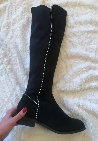 Stand Tall Black Studded Over The Knee Boots