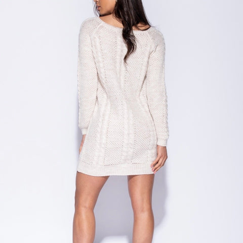 Honey Cream Cable Knit Jumper Dress