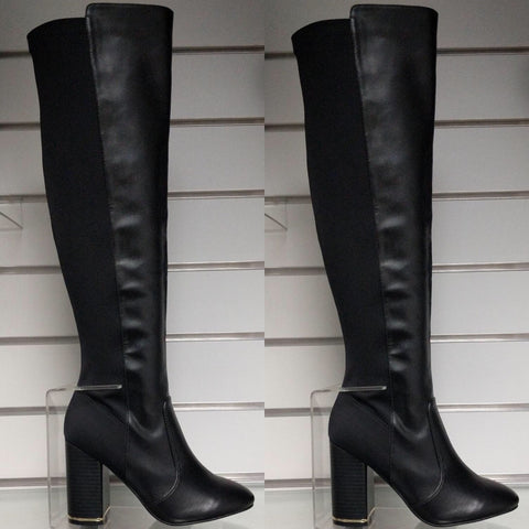 Cara Black Block Heel Over Knee Boots