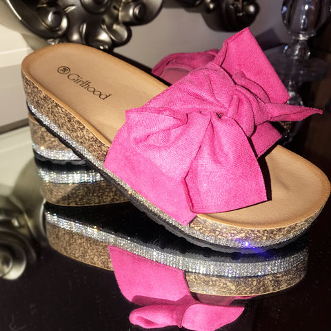 Mollie Fuschia Pink Bow Sliders