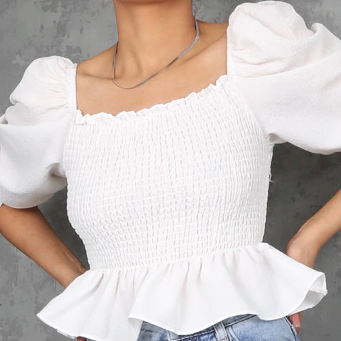 Laurie Peplum Frill Top - White
